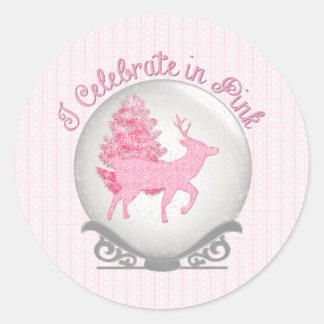 I Celebrate in Pink Round Sticker
