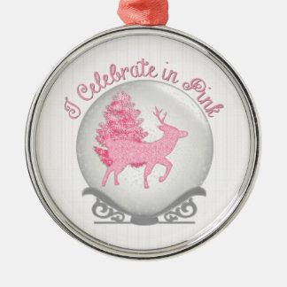 I Celebrate in Pink Silver-Colored Round Ornament