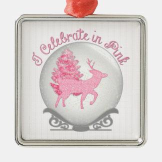 I Celebrate in Pink Silver-Colored Square Ornament