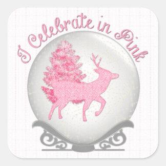 I Celebrate in Pink Square Sticker