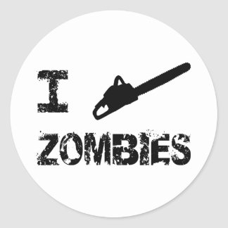 I Chainsaw Zombies Round Sticker