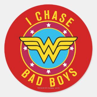 I Chase Bad Boys Classic Round Sticker