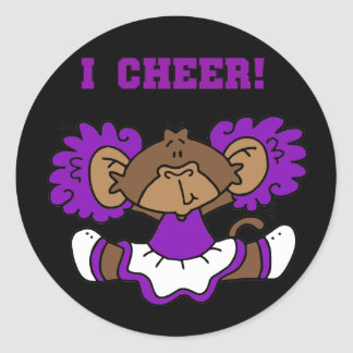 I Cheer Purple and White Tshirts and Gifts Classic Round Sticker