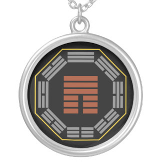 """I Ching Hexagram 12 P'i """"Obstruction"""" Silver Plated Necklace"""