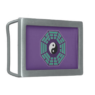 I Ching Yin Yang Rectangular Belt Buckle