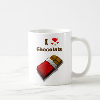 I chocolat de coeur avec la barre mug blanc