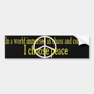 I Choose Peace Bumper Sticker (yellow letters)