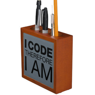 I Code Therefore I Am Desk Organizer