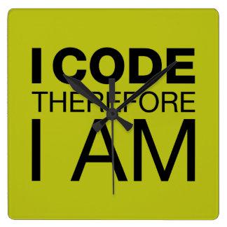 I Code Therefore I Am Wall Clocks