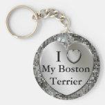 I coeur (amour) mon porte - clé de Boston Terrier Porte-clés