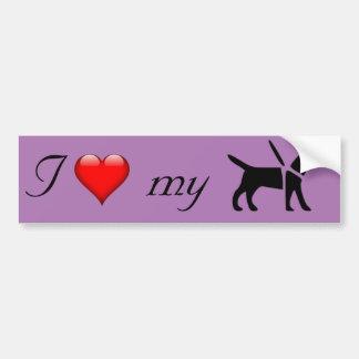 I coeur mon chien de service autocollant de voiture