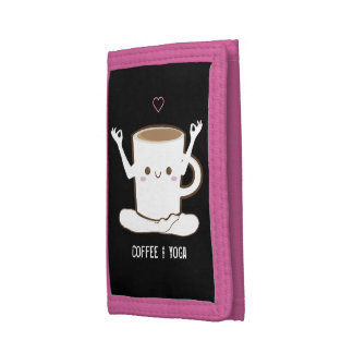 I ❤ Coffee and Yoga Trifold Wallets