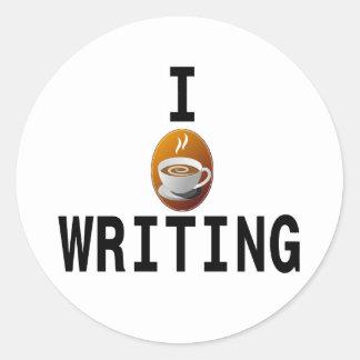 I [coffee] writing classic round sticker