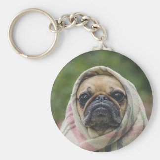 I Come in peace pug dog Basic Round Button Keychain