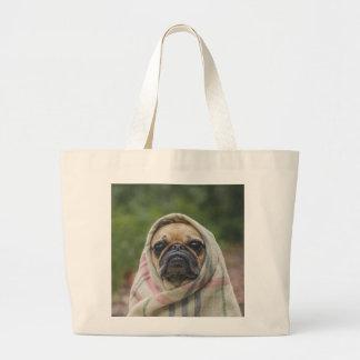I Come in peace pug dog Large Tote Bag