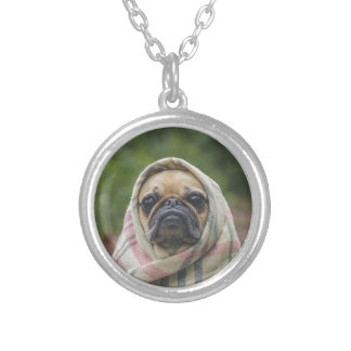 I Come in peace pug dog Silver Plated Necklace