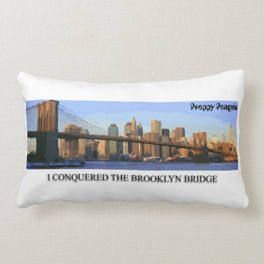I Conquered the Brooklyn Bridge Preppy Penguin Lumbar Pillow