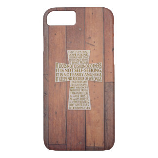 I Corinthians 13 Love Chapter Cross Rustic Wood iPhone 8/7 Case