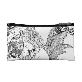 I Cosmetic Bag - Small  Peony Fairy b/w