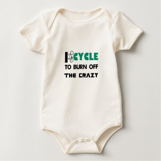 I cycle to burn off the crazy, bicycle baby bodysuit