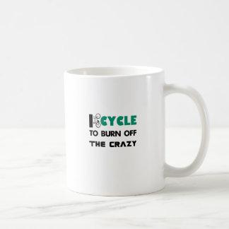 I cycle to burn off the crazy, bicycle coffee mug