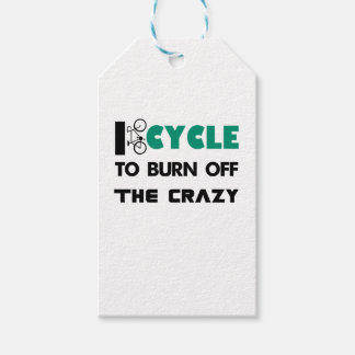 I cycle to burn off the crazy, bicycle gift tags