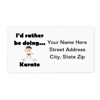 I d rather be doing Karate Custom Shipping Label