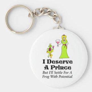 """I Deserve A Prince"" Wine Princess & Wine Prince Basic Round Button Keychain"