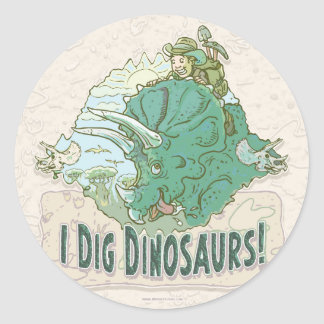 I Dig Dinosaurs for Dinosaur Hunters of all Ages Round Sticker