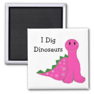 I Dig Dinosaurs Square Magnet