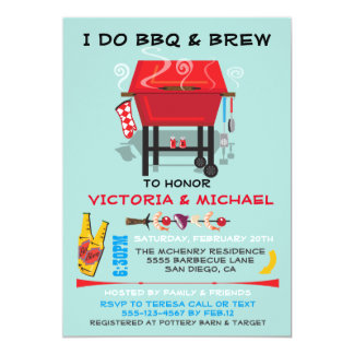 I do barbecue BBQ engagement party invitations