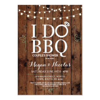 I DO BBQ Chalkboard Wood Engagement Party Invite