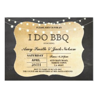 I DO BBQ Invitation Chalk Lights Couples Invite