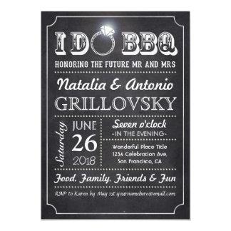 I DO BBQ Invitations   Chalkboard & Diamond Ring