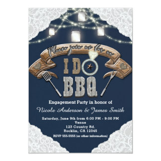 I DO BBQ Mason Jar Lights Lace Blue Engagement Card