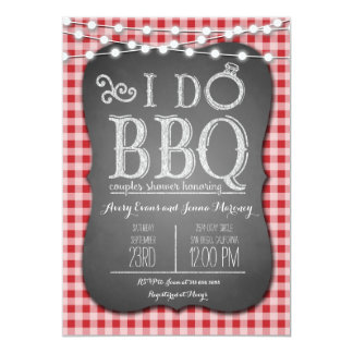I Do BBQ Red Gingham Couples Shower in Chalk Card