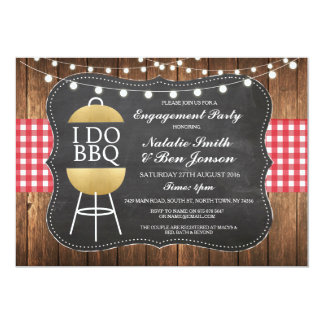 I DO BBQ Red Gold Chalk Couples Shower Invite