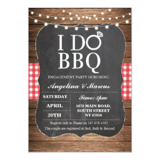 I DO BBQ Red Party Engagement Chalk Invitation