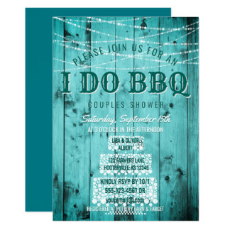I Do BBQ Rustic Couples Shower String Lights Wood Card