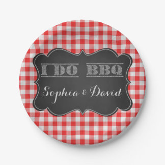 I DO BBQ Rustic Engagement Party 7 Inch Paper Plate