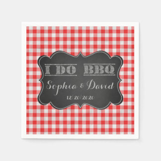 I DO BBQ Rustic Engagement Party Custom Paper Napkin