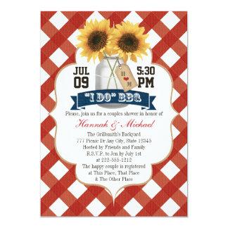 "I Do BBQ Sunflower Mason Jar Couples Shower 5"" X 7"" Invitation Card"