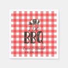 I Do BBQ Wedding Party Red Gingham Pig Roast Paper Napkin