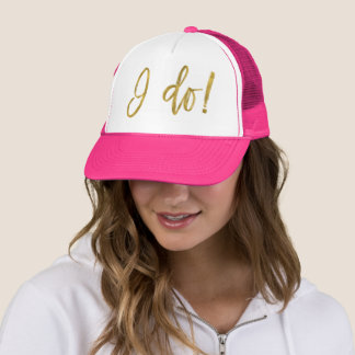 I Do Crew Faux Gold Foil and Pink Trucker Hat