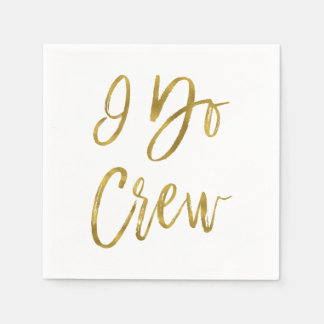 I Do Crew Faux Gold Foil and White Disposable Napkins