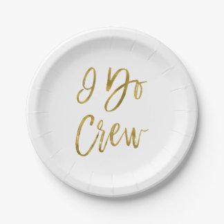 I Do Crew Faux Gold Foil and White Plates