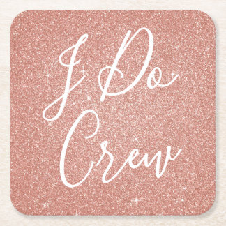 I Do Crew Pink Glitter Bachelorette Party Coaster