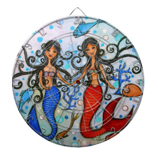 I do, Mermaid Couple Painting by Prisarts Dartboard