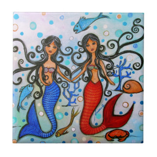 I do, Mermaid Couple Painting by Prisarts Tile
