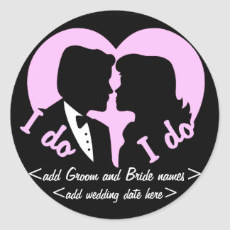 I DO Silhouette Couple Reminder Classic Round Sticker